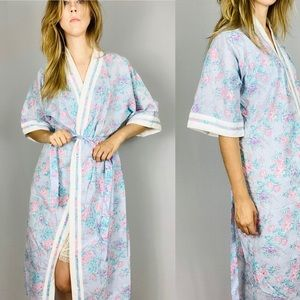 Vintage floral robe with terry cloth  trim.